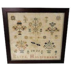19th C. Schoolgirl Sampler Eliza Halderman 1826