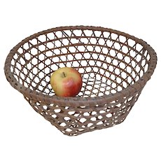 19th C. Small Tightly Woven Cheese Basket