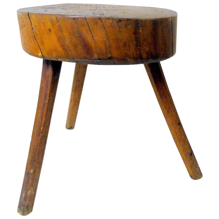 Pleasant Primitive 19Th C Solid Wood Milking Stool Gamerscity Chair Design For Home Gamerscityorg