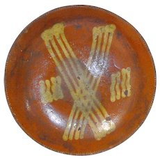"`19th C. High Sided 9"" Slipware Plate"
