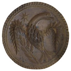 19th C. Carved Patriotic Eagle Butter Stamp or Print