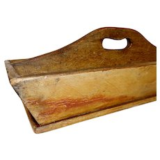19th C. Pine Carrier with Original Mustard Paint Decoration