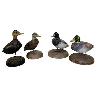 Four Vintage Miniature Cape Cod Duck Decoys Signed and Dated