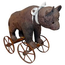 Large Late 19th C. Bear Pull Toy on Wooden Wheels