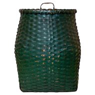 19th C. Large Backpack Basket in Old Paint