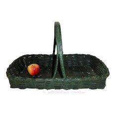 19th C. Oak Splint Gathering Basket in Original Green Paint