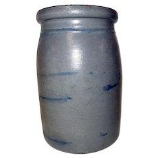 "7"" Western PA Wax Seal Canning Crock w/ Blue Stripes"