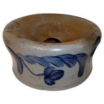 19th C. Blue Decorated Stoneware Spittoon