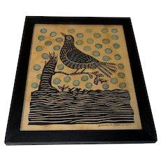 Folk Art Wood Block Print of Blackbird by Dennis Stephan Lancaster, PA