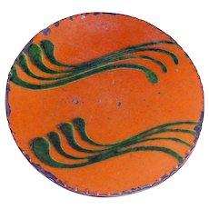 """1998 Greg Shooner 6"""" Redware Plate w/ Green Slip"""