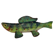 "Large 12.75"" Mid-1900's Wooden Fish Decoy"