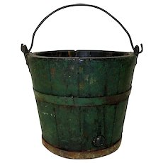 19th C. Primitive Wooden Bucket in Old Green Paint