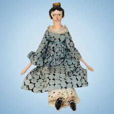 """16"""" Wooden Peg Doll with Hair Comb and Print Dress"""