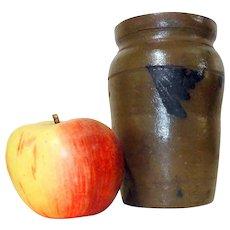 Rare 19th C. One Pint Stoneware Canning Crock w/ Blue