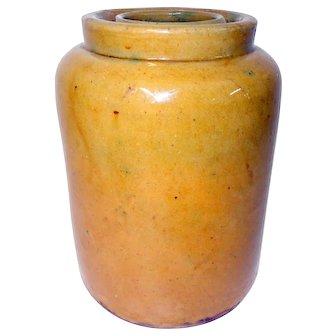 19th C. Yellow Glaze Stoneware Crock Signed John Bell