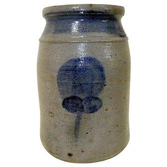19th C. Blue Decorated PA Wax Sealer Stoneware Crock