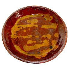 19th C. Redware Pie Plate w/ Yellow Slip Decoration