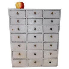 Small 21 Drawer Apothecary Chest in Original Grey Paint c. 1900