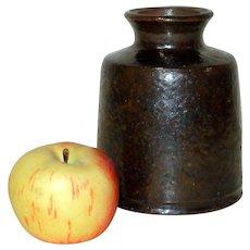 19th C. Redware Snuff Crock w/ Olive Brown Glaze