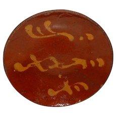 19th C. PA Redware Pie Plate w/ Yellow Slip Decoration