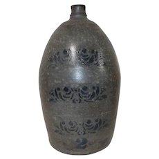 19th C. 2 Gal. Western PA Blue Stencil Stoneware Jug