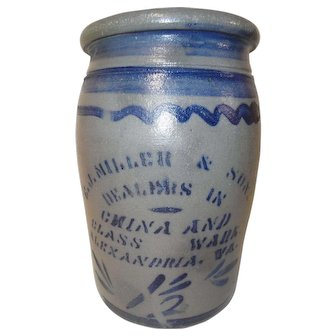 E.J. Miller Alexandria, VA Vendor's Stoneware Crock by James Hamilton