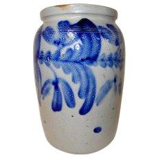 19th C. Stoneware Crock w/ Profuse Cobalt Blue Decoration