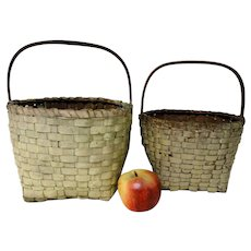 Two 19th C.  New England Baskets in Old Oyster Paint
