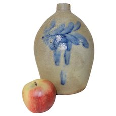 19th C. 1 Gal. Pfaltzgraff Stoneware Jug w/ Big Blue
