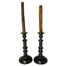 Early Pair of 19th C. Pewter Push-up Candlesticks