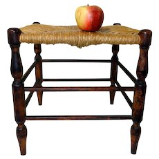 19th C. Jointed Foot Stool with Natural Rush Seat