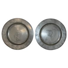 Pair of 19th C. Deep Pewter Plates with Provenance