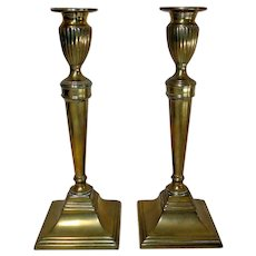 Pair of Late 18th C. Neoclassical Brass Push-up Candlesticks