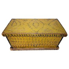Early 19th C. Paint Decorated Miniature Chrome Yellow Chest
