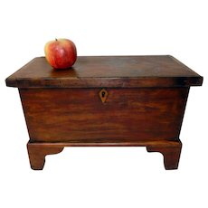 Miniature 19th C. Dovetailed Blanket Chest in Original Red Paint