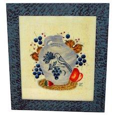 20th C. Pennsylvania Folk Art by Bill Rank w/ Stoneware Bird Jug