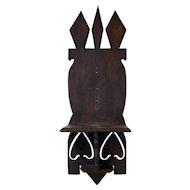 19th C. Chip Carved Pine Folk Art Clock Shelf