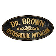 Late 19th C. Gold and Black Osteopathic Physician's Sign