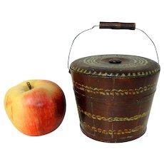 Miniature 19th C. Lehnware Bucket w/ Lid and Original Paint