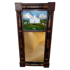 19th C. Reverse Painted Mirror of Whitehouse Washington, D.C.