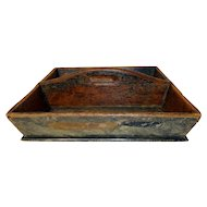 19th C. Paint Decorated Cutlery Box