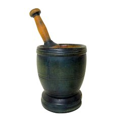 19th C. Mortar and Pestle in Old Blue Wash