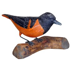 Vintage 1920's Carved Wooden Baltimore Oriole Bird Signed