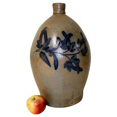 4 Gal Pennsylvania Stoneware Jug w/ Blue Decoration