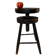 19th C. Country Stool w/ Adjustable Screw Top Seat