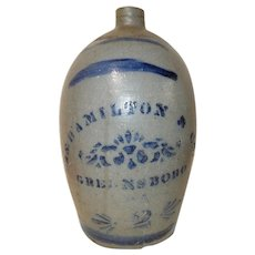 James Hamilton 2 Gallon PA Stoneware Jug w/ Blue Decoration