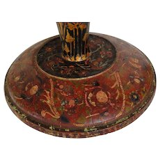 Impressive Wooden Paint Decorated 19th C. Tazza