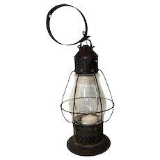 Early Ship's Lantern w/ Pierced Tin Design