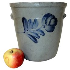 Unusual 19th C. Tapered Sided Blue Decorated Stoneware Crock