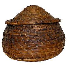 19th C. Small Lidded Rye Grass Basket